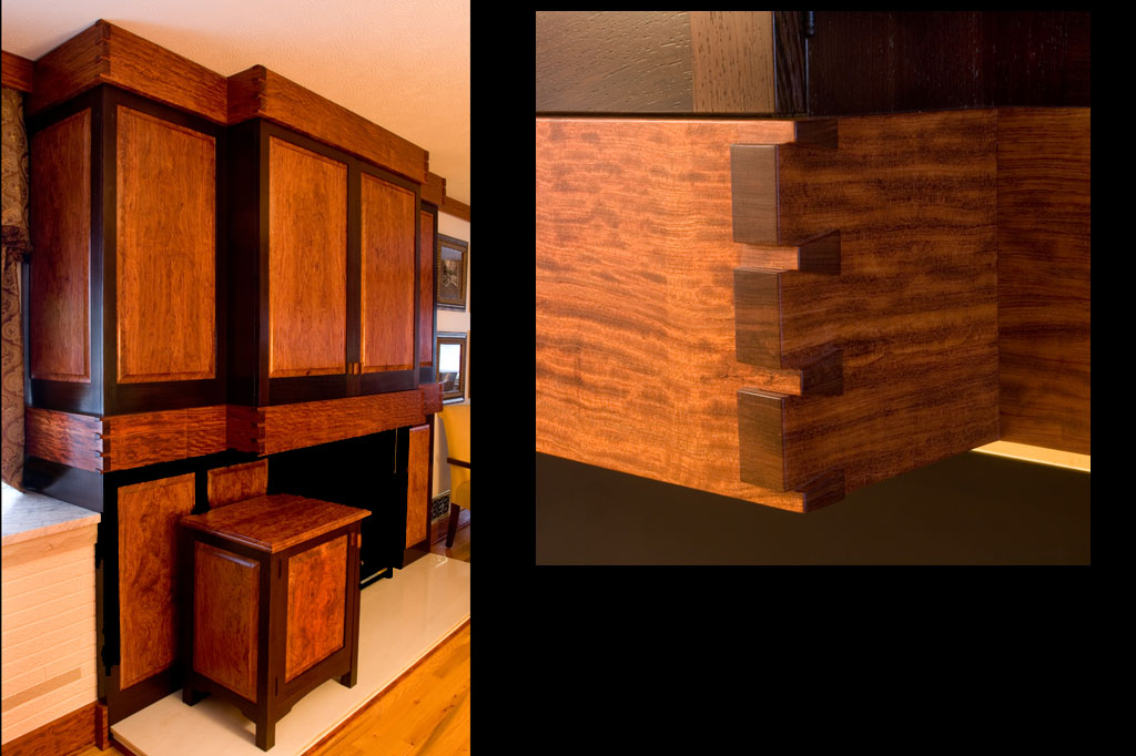 This bubinga and wenge entertainment cabinet features a piece of furniture to hold the equipment while the new flat screen allows for a very shallow cabinet above the fireplace.