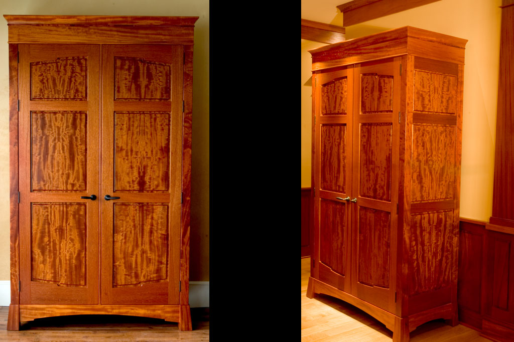 This beeswing mahogany armoire was inspired by the amazing board we found to make the panels of this foyer armoire which highlights the entrance to this home.