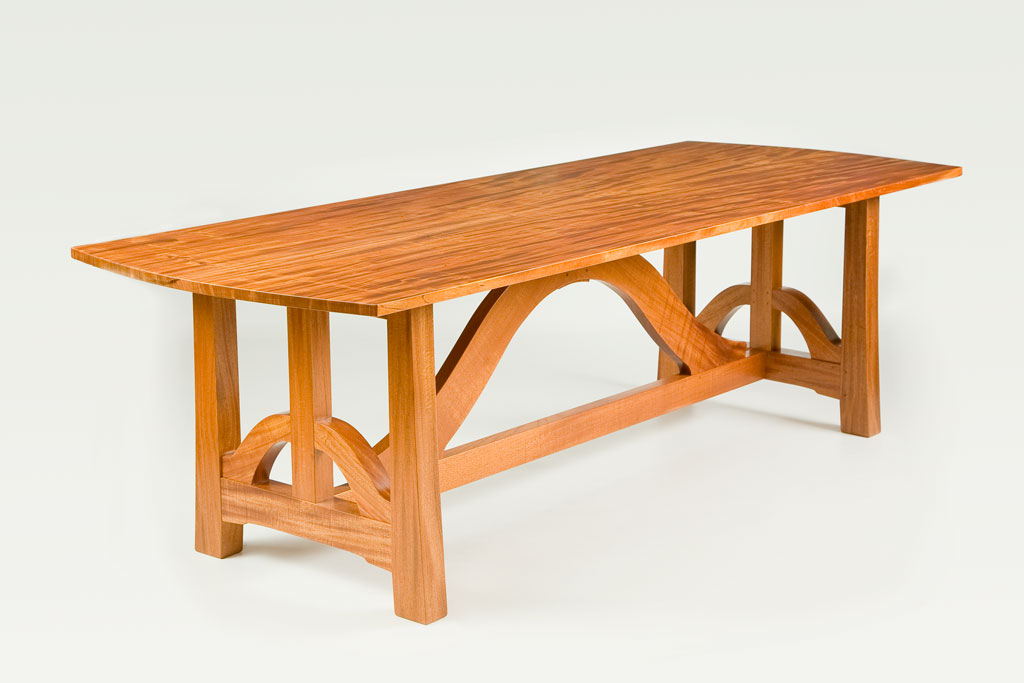 Designed after a week touring Greene & Greene houses in Pasadena, this table featured curved bracing and a bookmatched top.