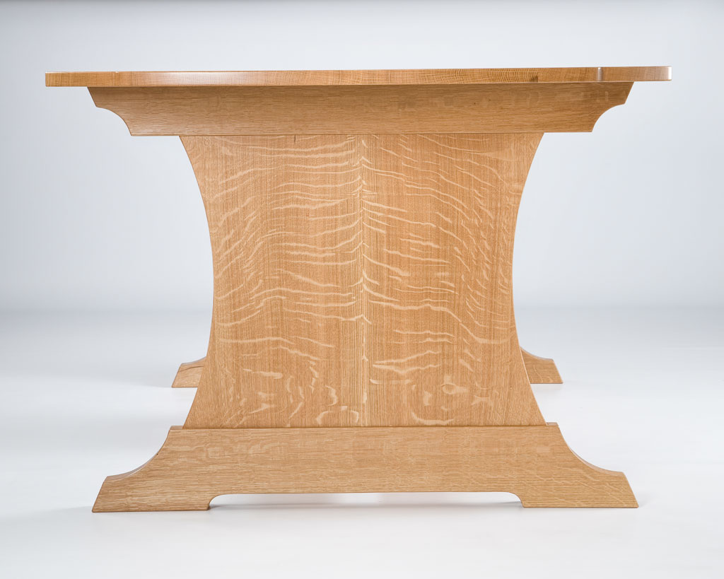 "We had a 52"" white oak log custom sawed in the quartersawn technique by Guy Bowers, one of the finest sawyers we know. Our commission was to build a dining / work table that celebrated quartersawn white oak. Our design was totally focused on the rare material."